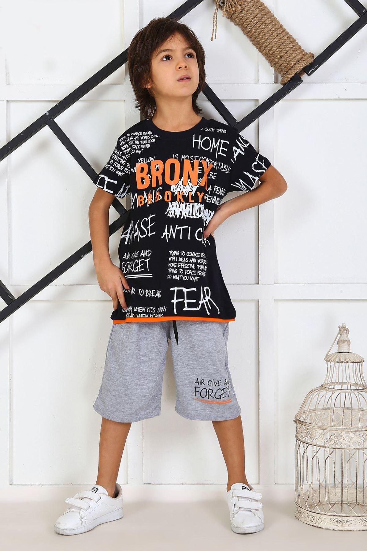 Navy Blue Child Boy Teenage Male Clothes Suit Summer Children T-Shirt Shorts 2 Piece Clothing Set Beach Boys outfits Sport Model