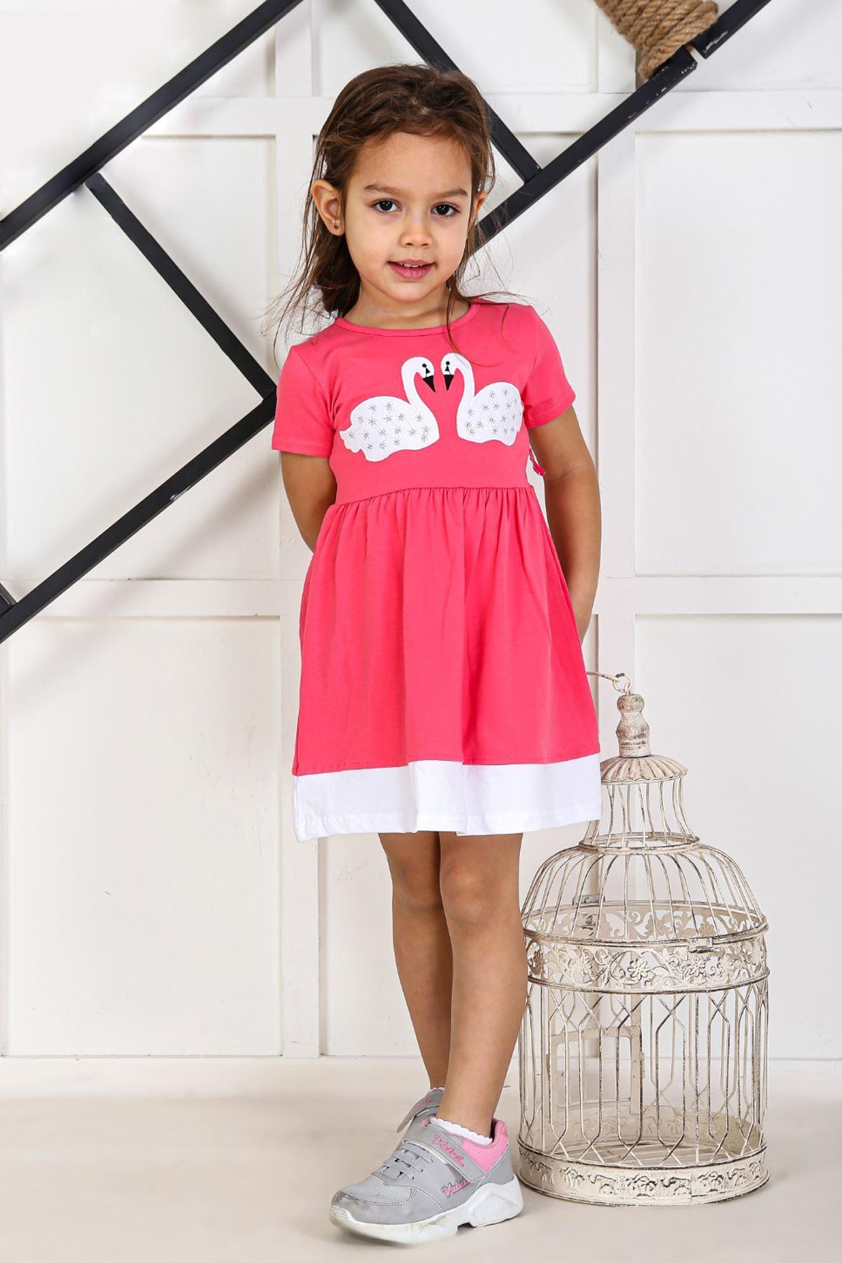 Pembe Yazlık Kız Çocuk Elbise