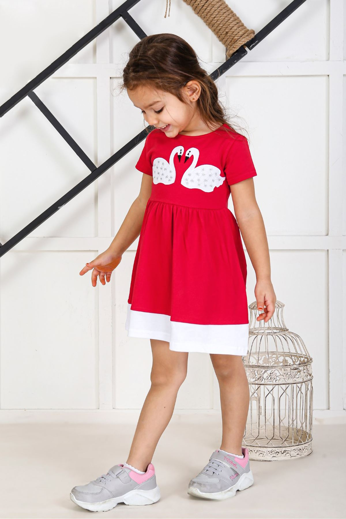 Grenadine red Kids 2021 Girls Girls' Skirt Dress Suits Cotton Casual Summer Children Clothing Girl Dress Cute Holiday Outfits Sport