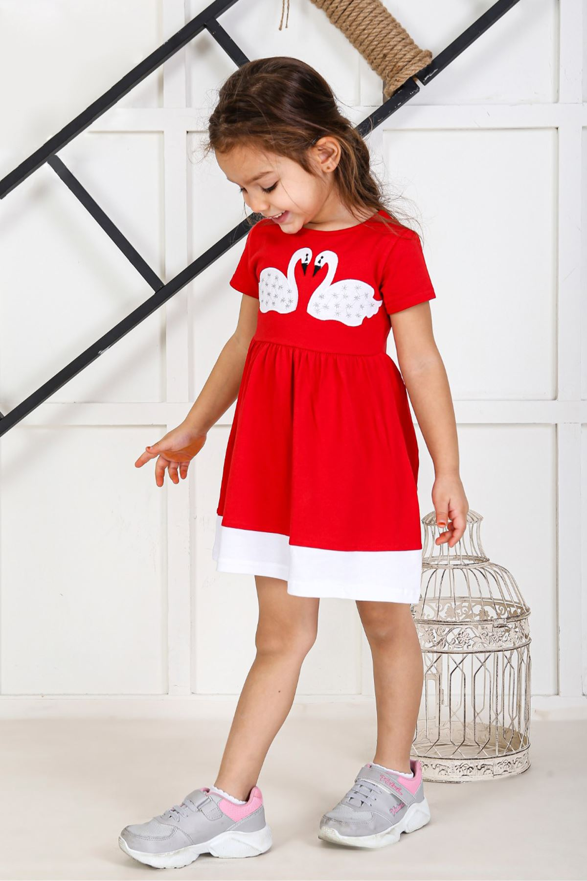 Red Kids 2021 Girls Girls' Skirt Dress Suits Cotton Casual Summer Children Clothing Girl Dress Cute Holiday Outfits Sport Models