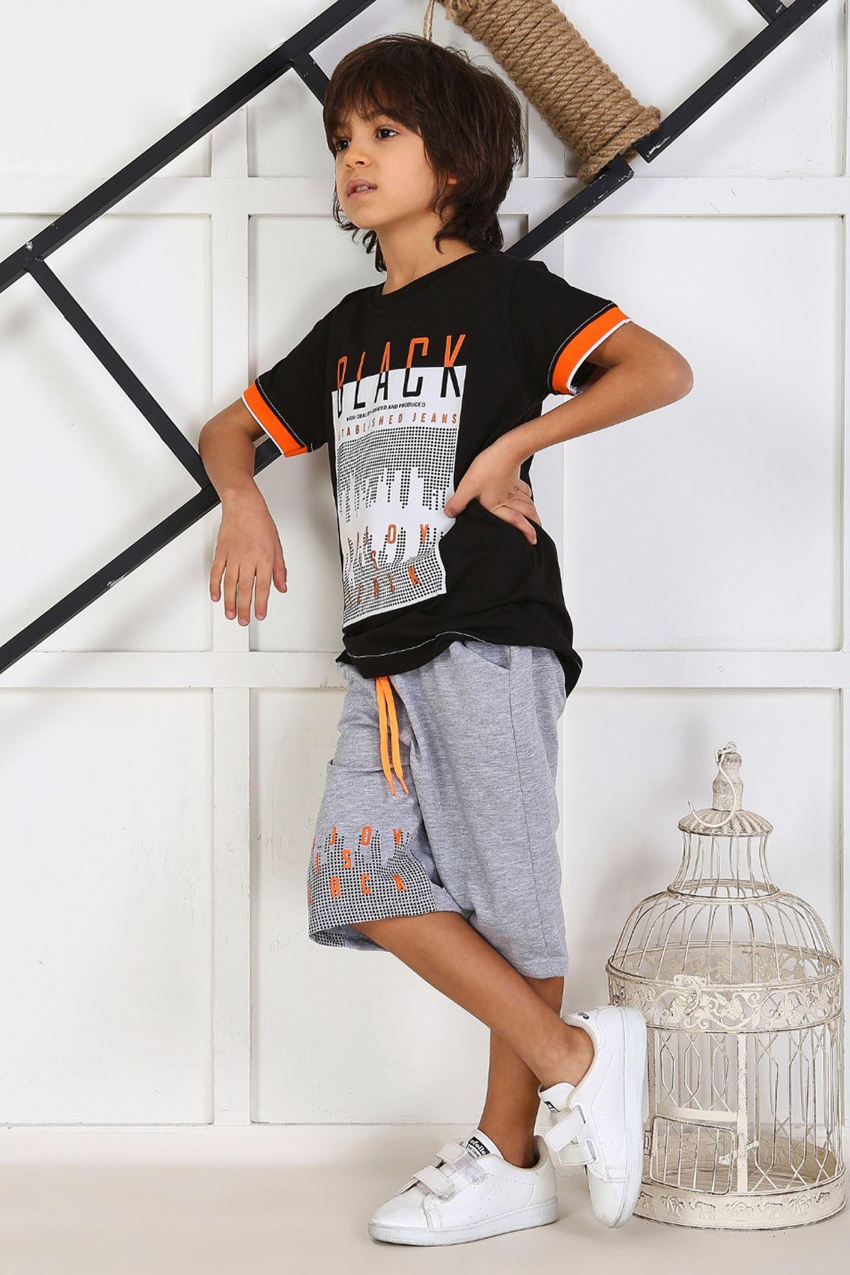 Navy Blue Gray Boy 'S Child Summer Capri Set 2 Pieces Male Clothes Capri T-shirt Casual Holiday Boys Kids cotton Outfits Children