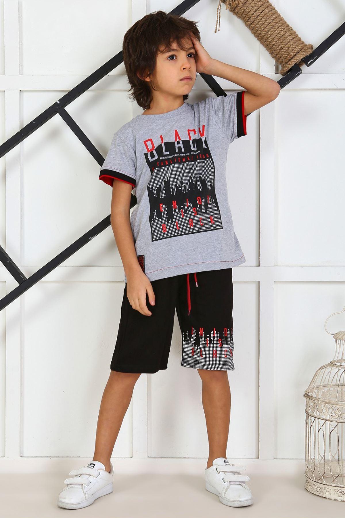 Gri Yazlık Erkek Çocuk Kaprili Takım