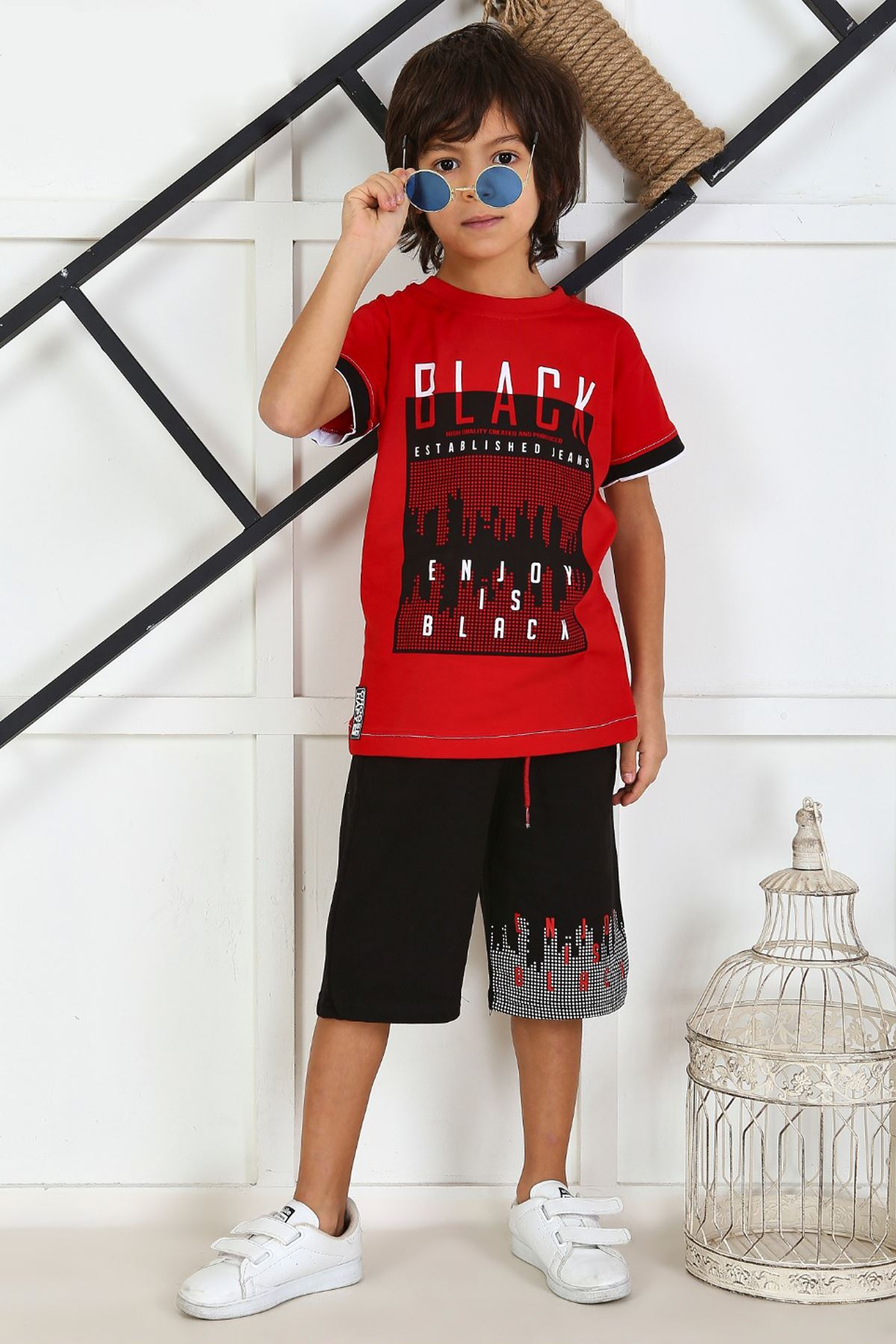 Red Boy Child Summer Capri Set 2 Pieces Male Clothes Capri T-shirt Casual Holiday Boys Kids Cotton Outfits children Clothing Mod
