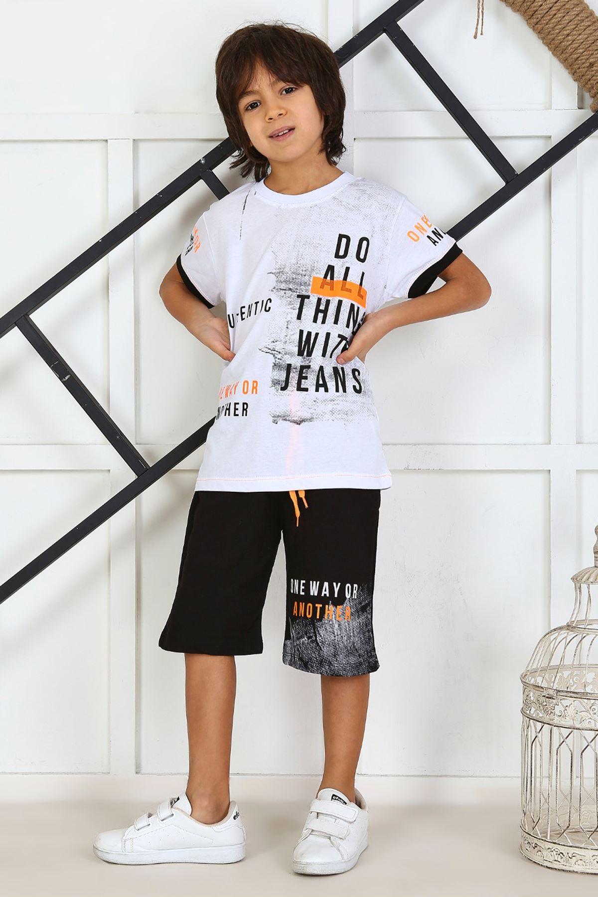 White Boy 'S Child Summer Capri Set 2 Pieces Male Clothes Capri T-shirt Casual Holiday Boys Kids Cotton Outfits children Clothing