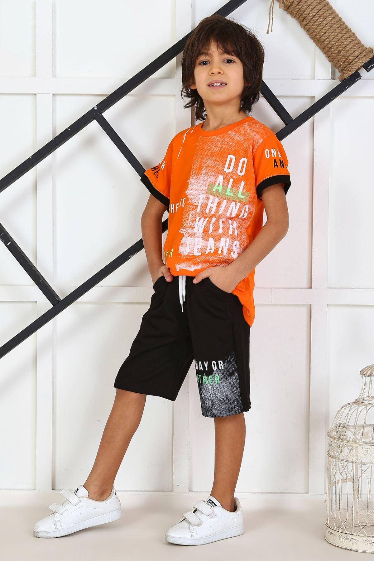 Turuncu Yazlık Erkek Çocuk Kaprili Takım