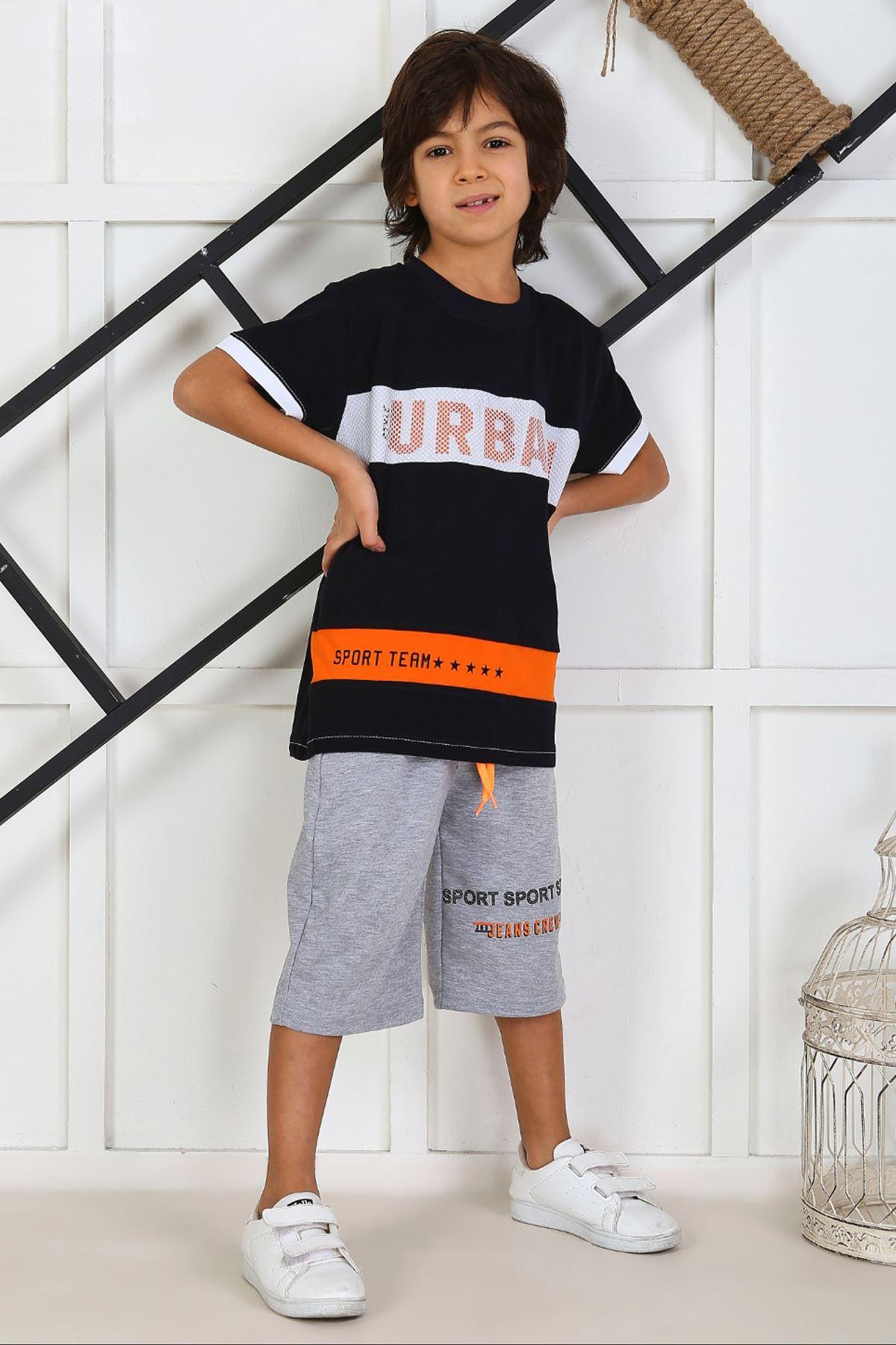 Navy Blue Boy Child Summer Capri Set 2 Pieces Male Clothes Capri T-shirt Casual Holiday Boys Kids Cotton outfits Children Cloths