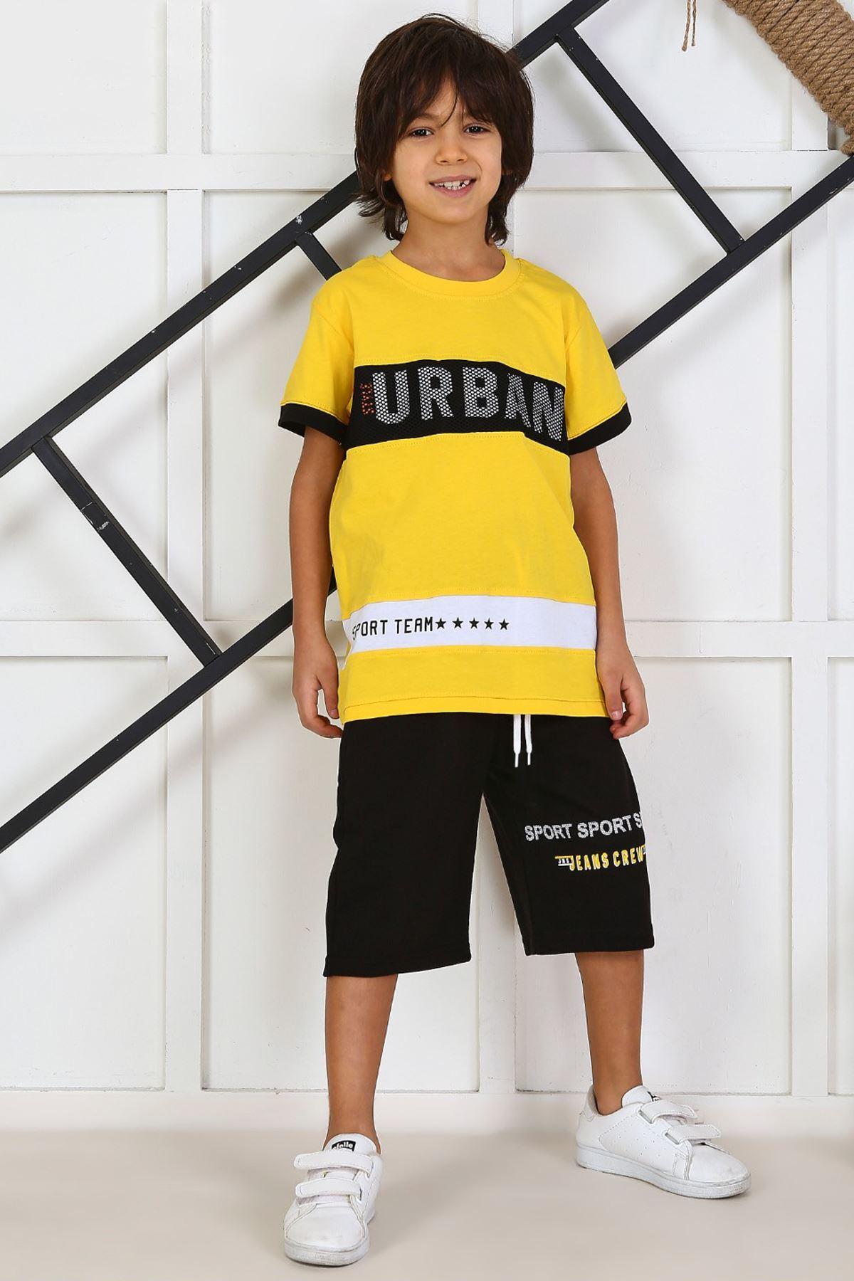 Sarı Yazlık Erkek Çocuk Kaprili Takım