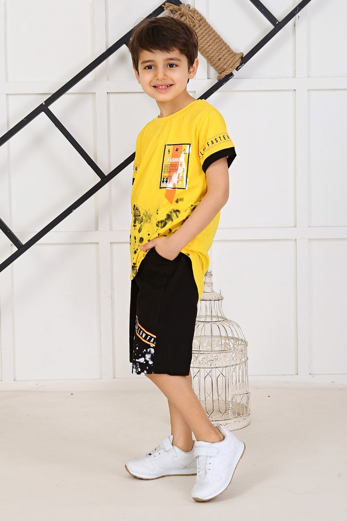 Yellow Baby Boy Teenage Clothes Suit Summer Male Children T-Shirt Shorts 2 Piece Clothing Set Beach Boys Outfits sport Model
