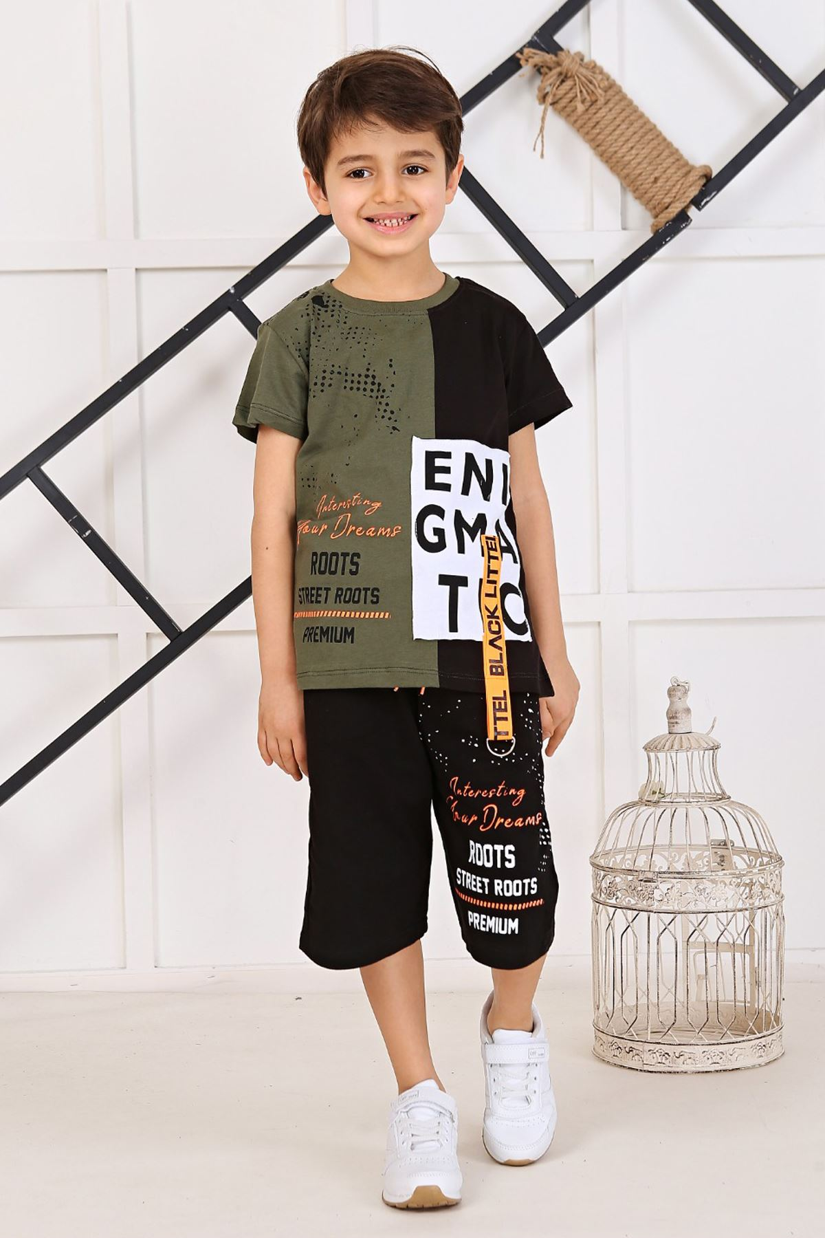 Military Green  Size Summer Shorts Set 2 Piece Clothes Shorts T-shirt Casual Casual Holiday Children Boys Cool Cotton Outfits kid Clothing