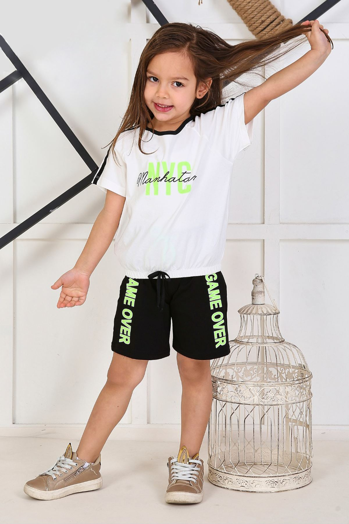 White Girl Child Summer Shorts Set 2 Piece Shorts T-shirt Daily Casual Holiday Kids Girls Children Cool Cotton outfits Clothing