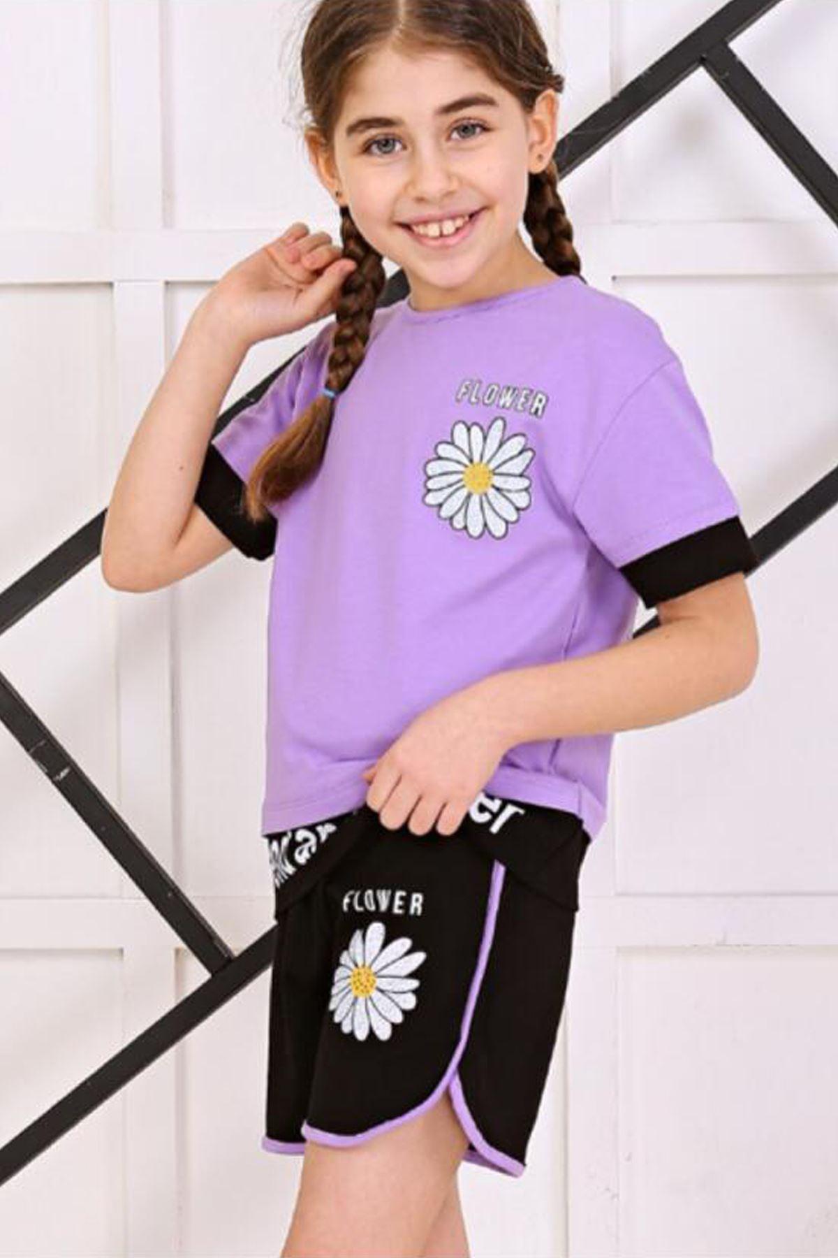 Mor Yazlık Kız Çocuk Şortlu Takım