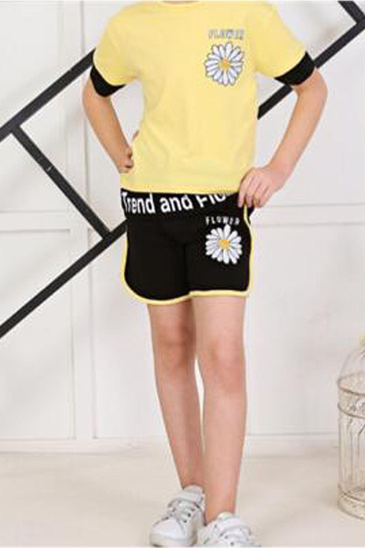 Sarı Yazlık Kız Çocuk Şortlu Takım