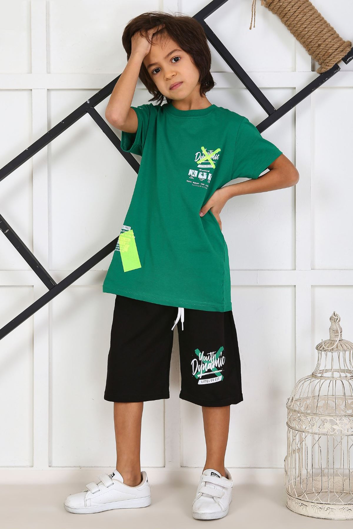 Green Summer Male Child Capri Suit