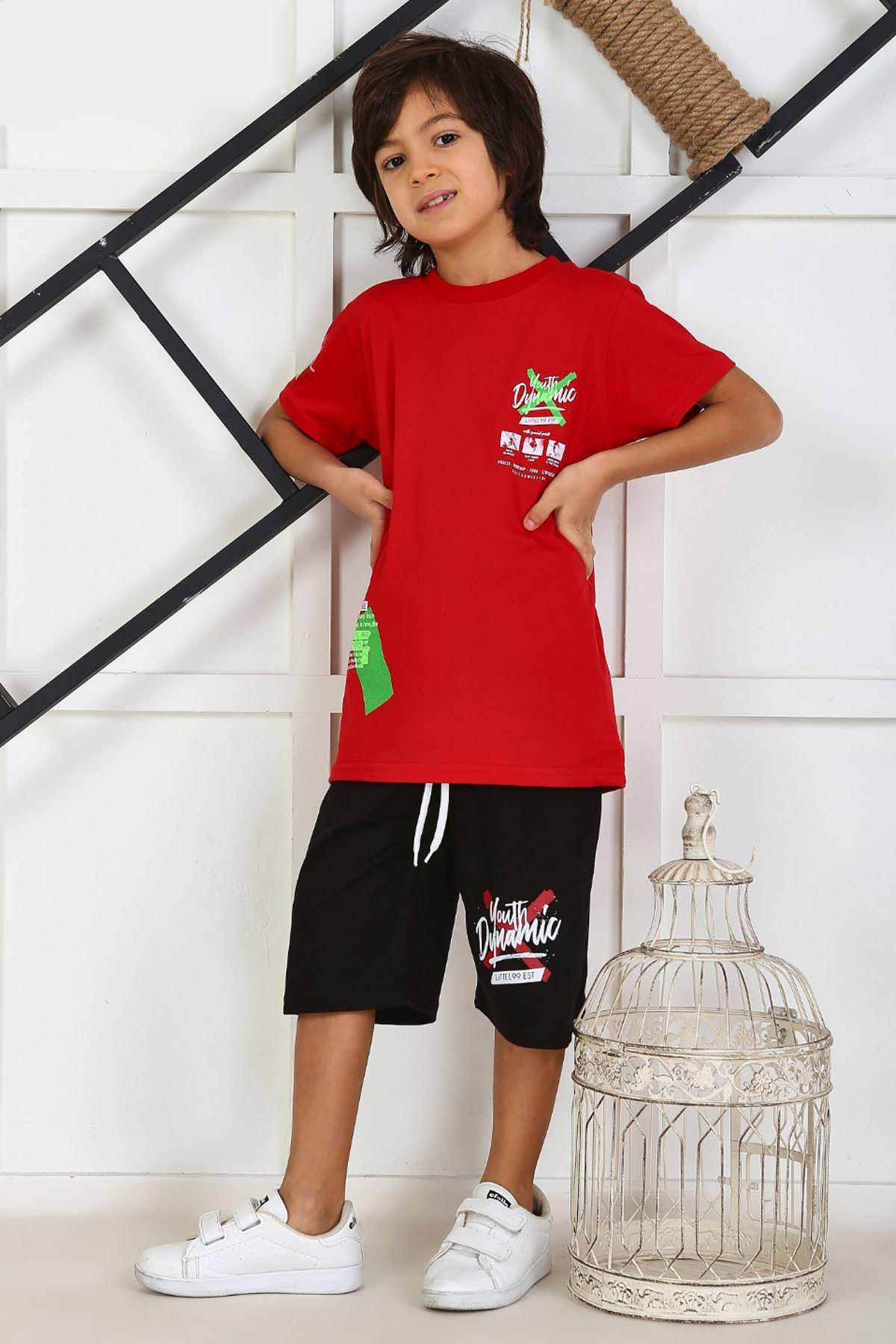 Kırmızı Yazlık Erkek Çocuk Kaprili Takım