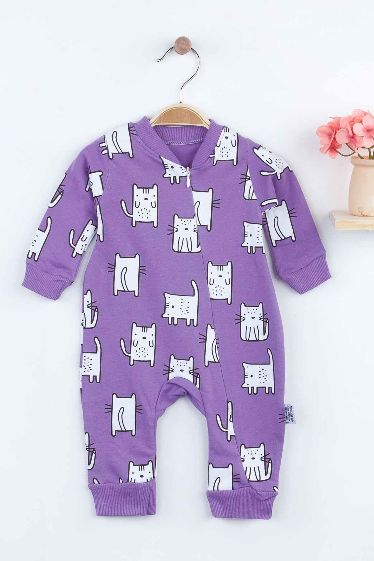 Mor Kedi Desenli Kız Bebek Tulum