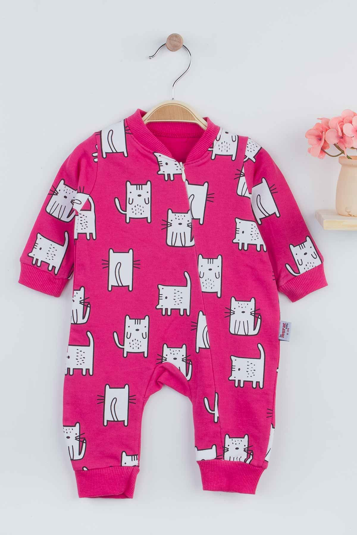 Fuchsia Cat Baby Girl Rompers Babies Clothes Set Outfit Cotton Comfortable Underwear 2021 New Season Girls Salopet Models