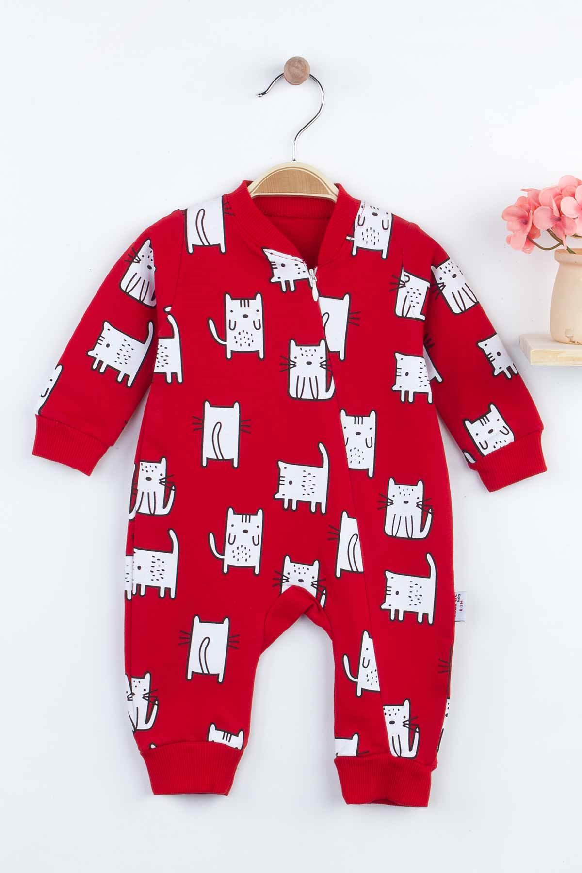 Red Cat Baby Girl Rompers Babies Clothes Set Outfit Cotton Comfortable Underwear 2021 New Season Girls Cats Salopet