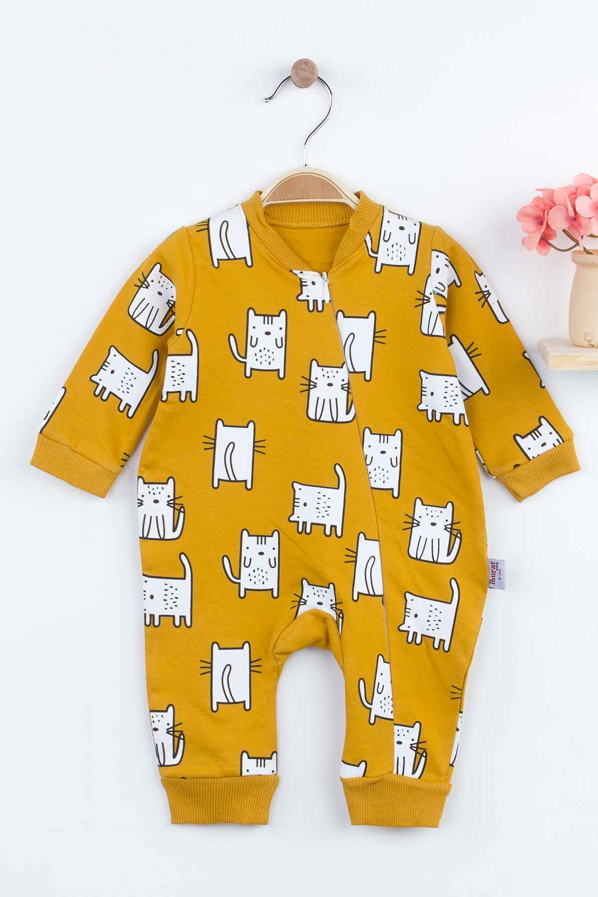 Yellow Cat Baby Girl Rompers Babies Clothes Set Outfit Cotton Comfortable Underwear 2021 New Season Girls Cats Salopet Models