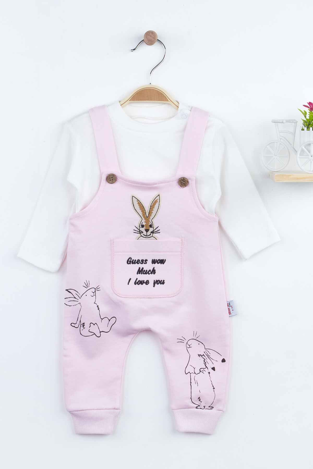 Pink Rabbit Baby Girl Rompers Babies Clothes Set Outfit Cotton Comfortable Underwear 2021 New Season Girls Salopet Rabbit Model