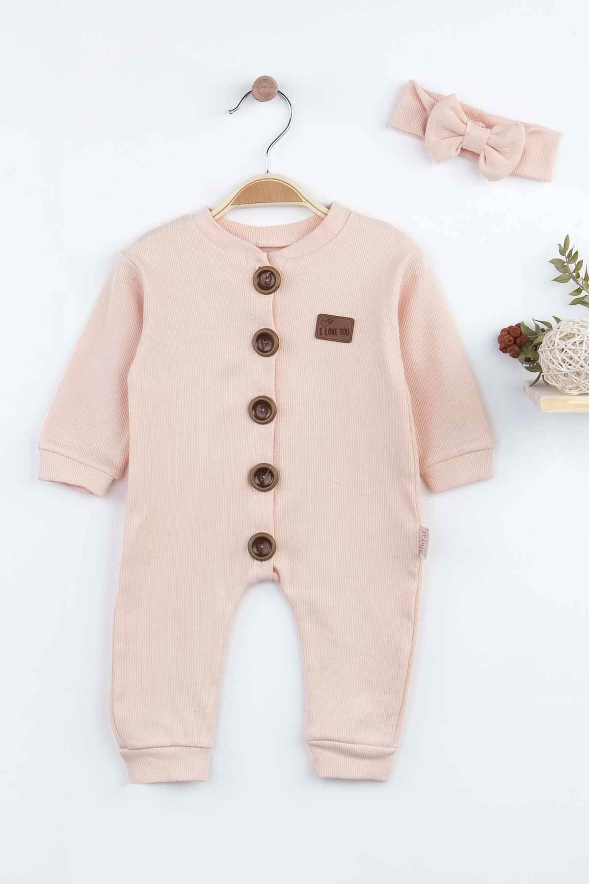 Powder Pink Baby Girl Rompers Babies Clothes Set Outfit Cotton Comfortable Underwear Hair Bandanna 2021 New Season Girls Models