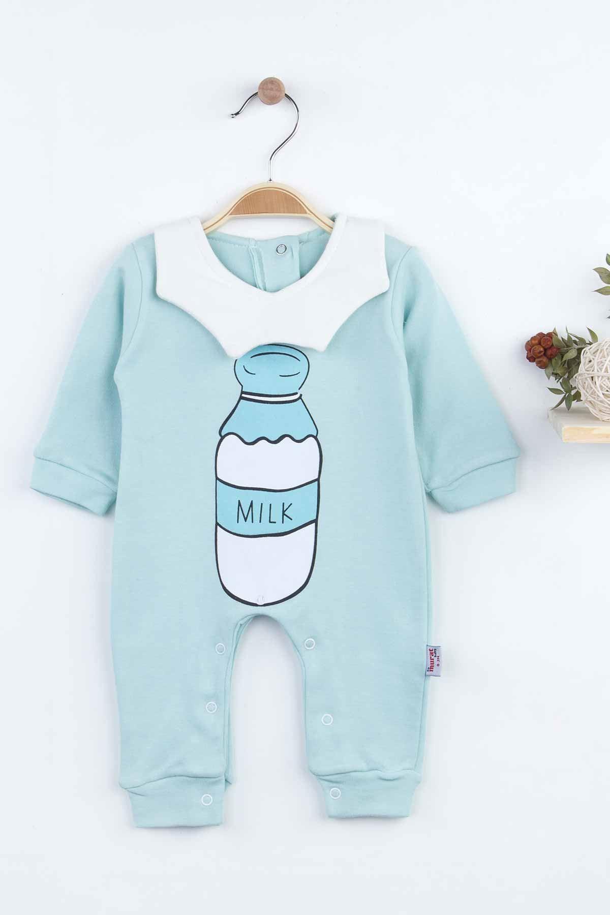 Yeşil Milk Desenli Erkek Bebek Tulum
