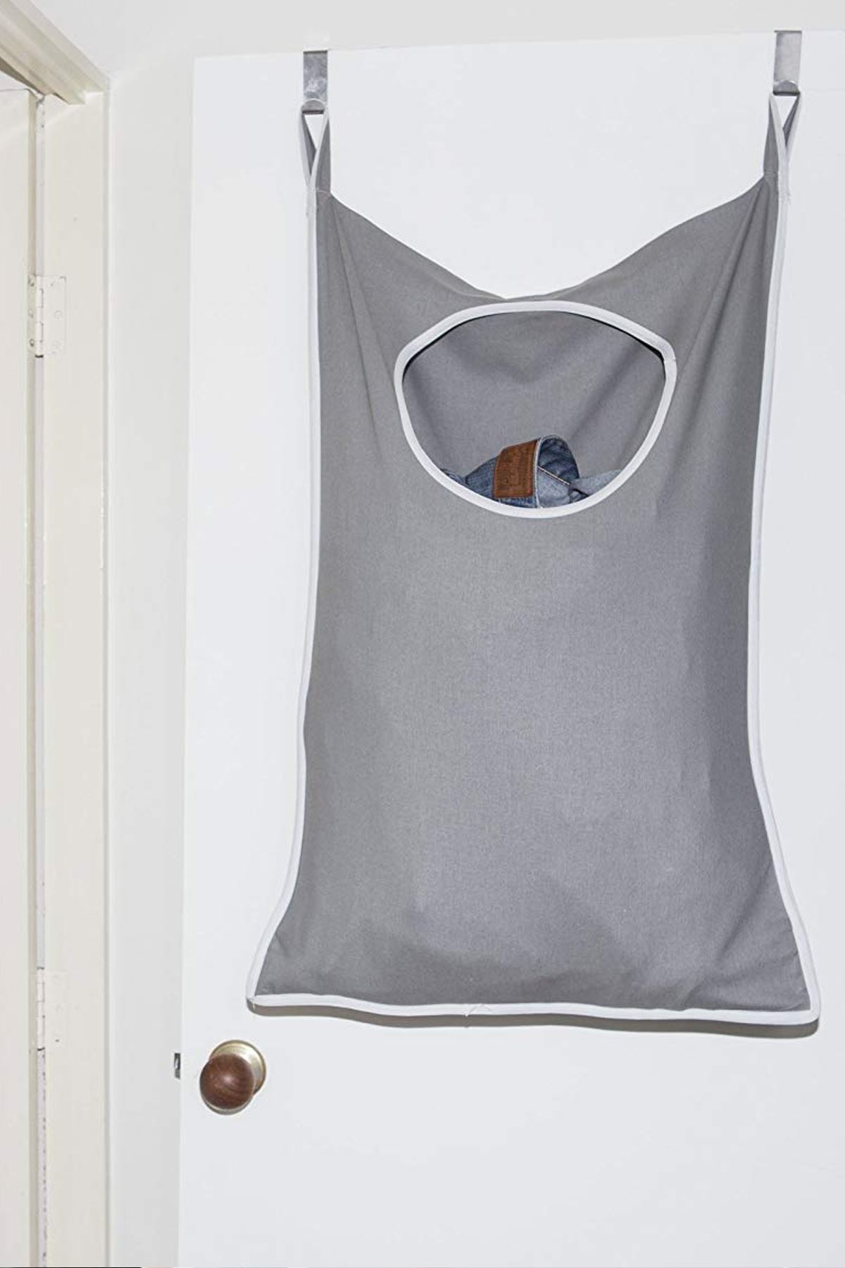 Gray Laundry Toy Hanger Kids Room Bathroom Dirty Clothes Hooked Behind Door Wall Model Practical Household Items Storage Model