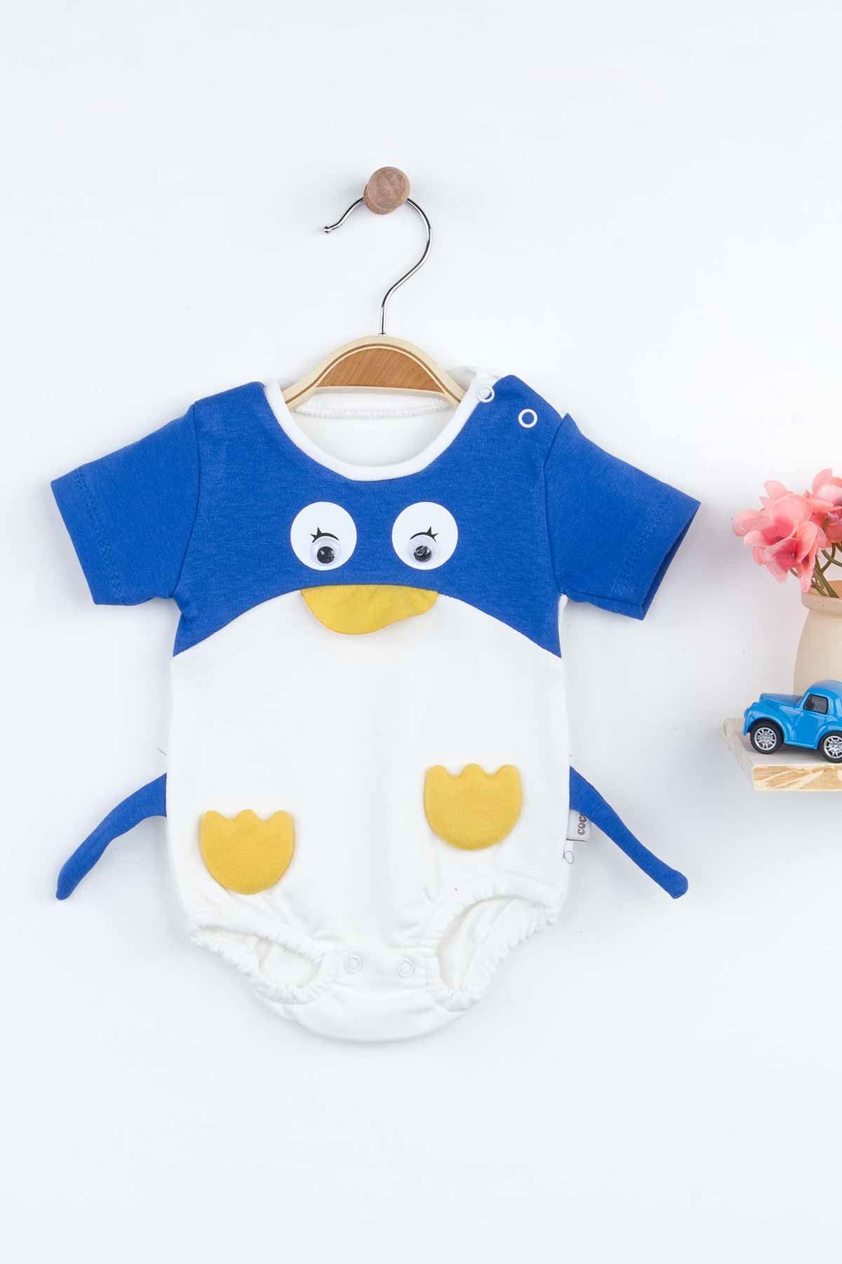 Mavi Erkek Bebek Penguen Figürlü Tulum
