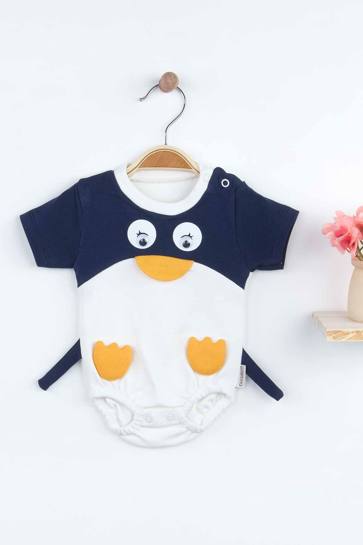 Navy Blue Penguin Baby Boy Rompers Fashion 2021 New Season Style Babies Clothes Outfit Cotton Comfortable Underwear for Boys Baby