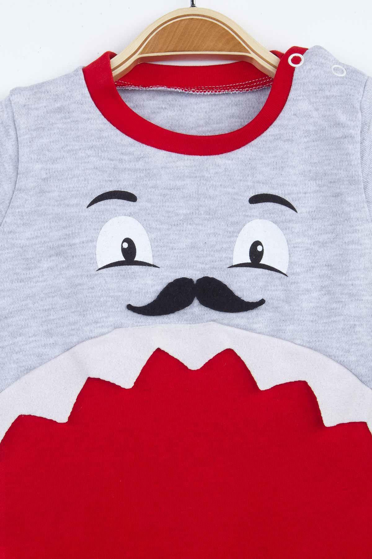 Kırmızı Erkek Bebek Köpekbalığı Figürlü Tulum