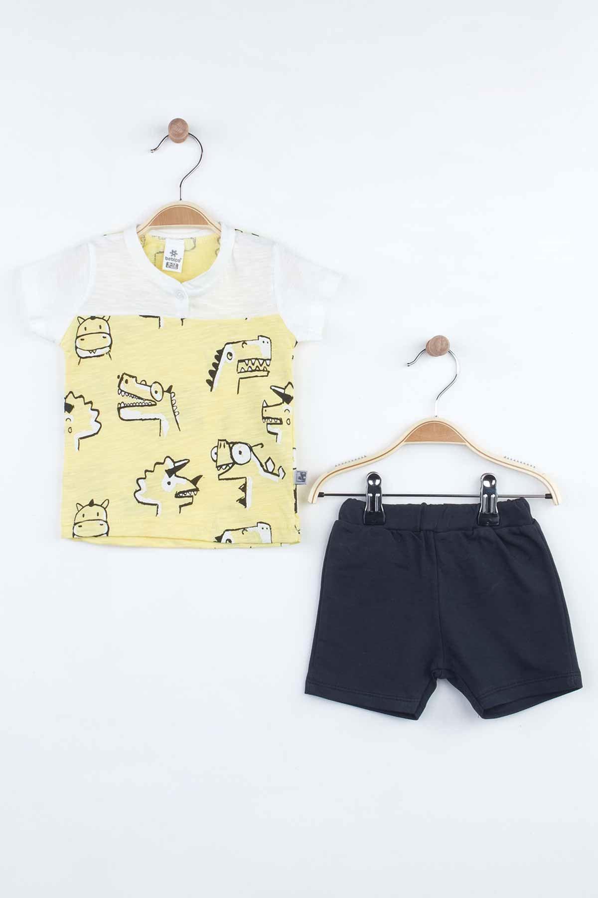 Yellow Summer Hot Baby Boy Shorts Set Summer 2021 Fashion Babies Boys Outfit Cotton Casual Vacation Use Clothing Models