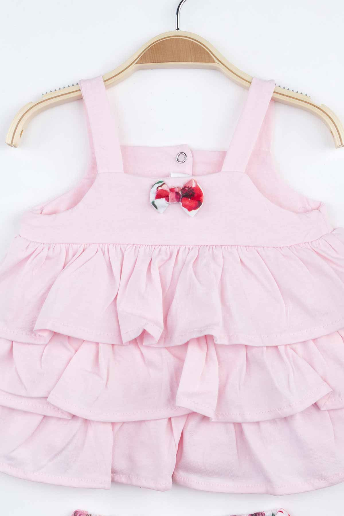 Pink Flower Baby Girl Suit Shorts Body Hair Bandana Clothing Summer Holiday Girls Babies Comfortable Daily Cotton Underwear Sets