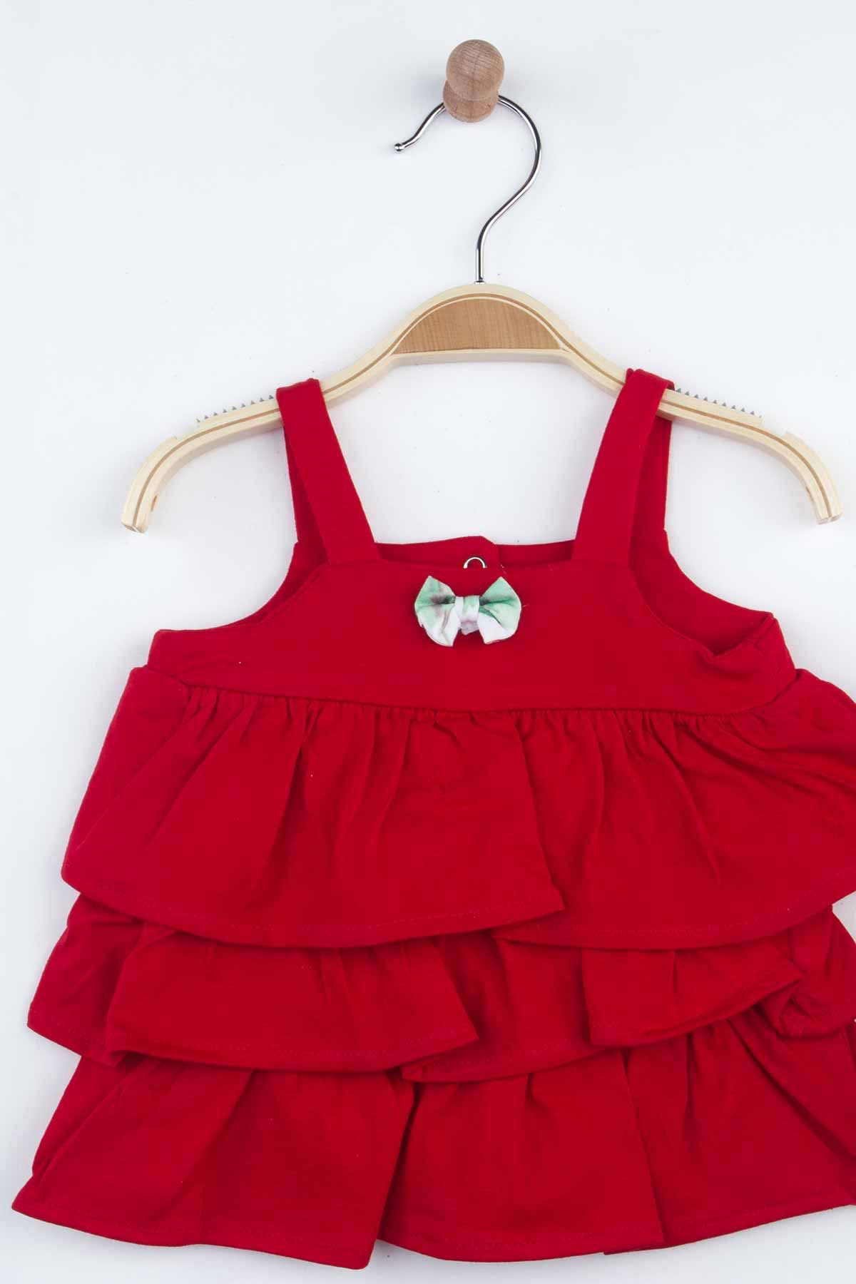 Kırmızı Yazlık Kız Bebek Badi ve Külot