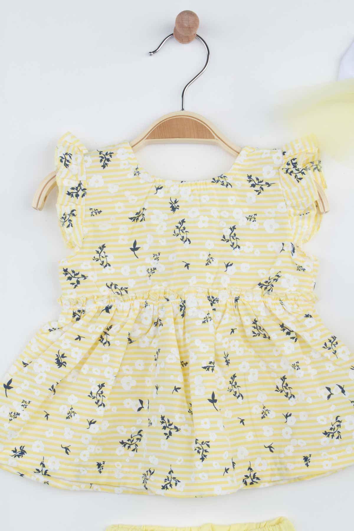 Sarı Yazlık Çiçekli Kız Bebek Bandanalı Şortlu Takım