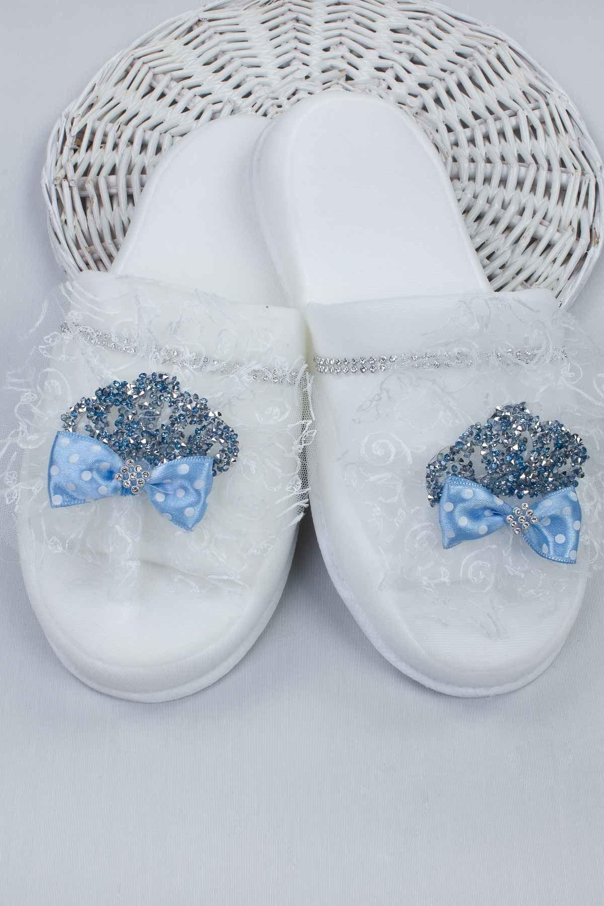 Mavi Lohusa Taç Terlik ve Bebek Patik Şapka Set