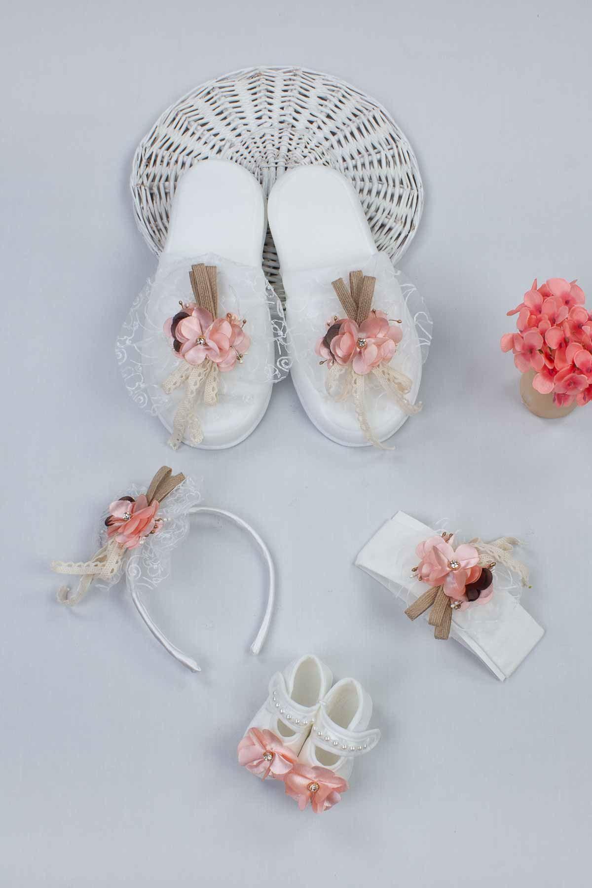 Beyaz Lohusa Taç Terlik ve Bebek Patik Bandana Set