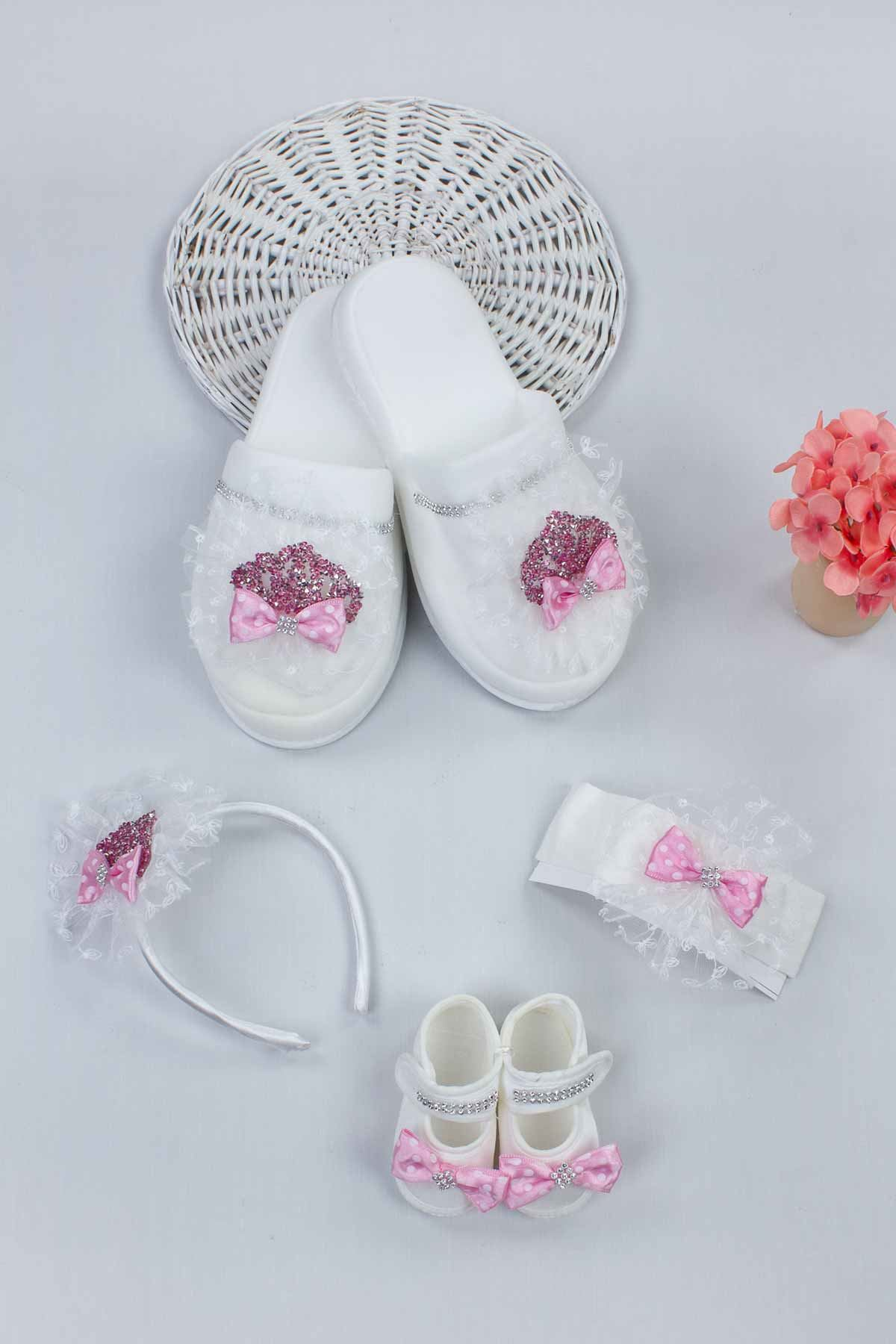Pink Puerperal Crown Slippers and Baby Booties Bandana Set