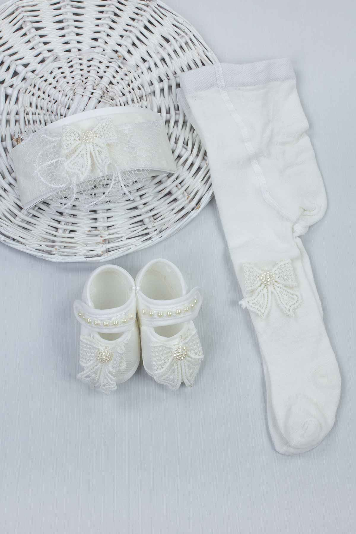White Baby Girl Newborn Gift Suit Set Girls Babies Tights Stockings Hair Bandanas Shoes Fashion Style 2021 Mom Gift Package