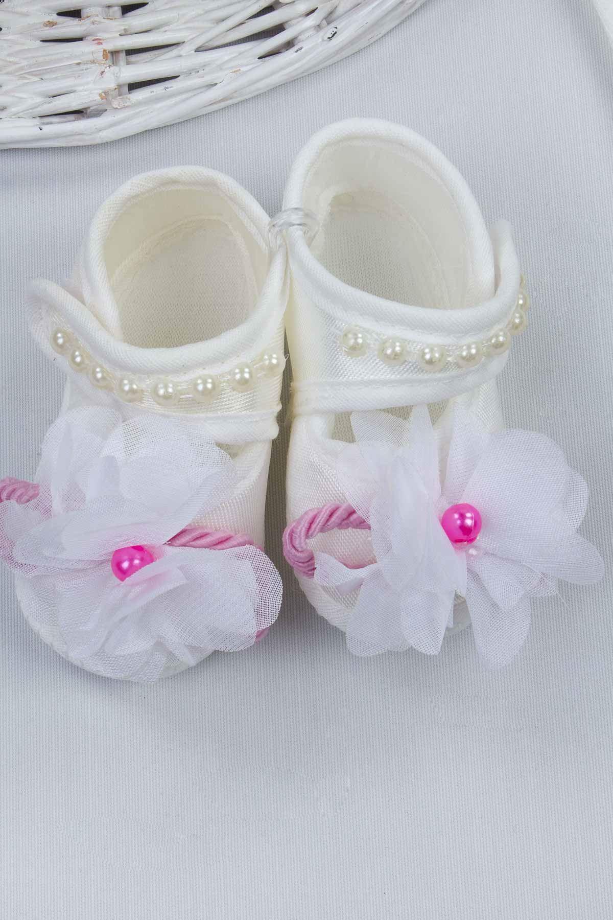 Pembe Kız Bebek 3 lü Hediyelik Çorap Bandana Ayakkabı Set