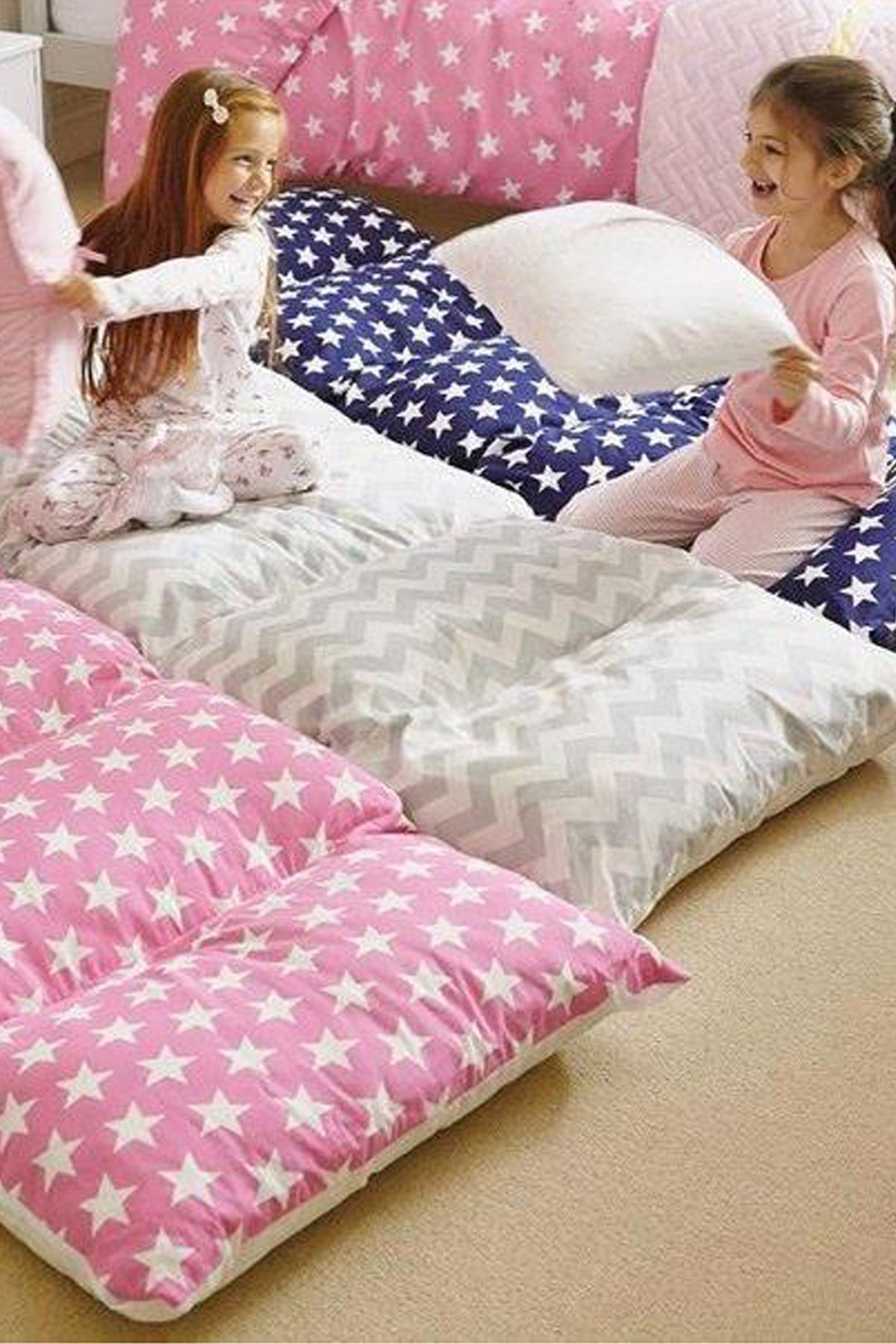 Blue Bundera Pouf Foldable Floor Cushion Pillow Kids Baby Floor Bed
