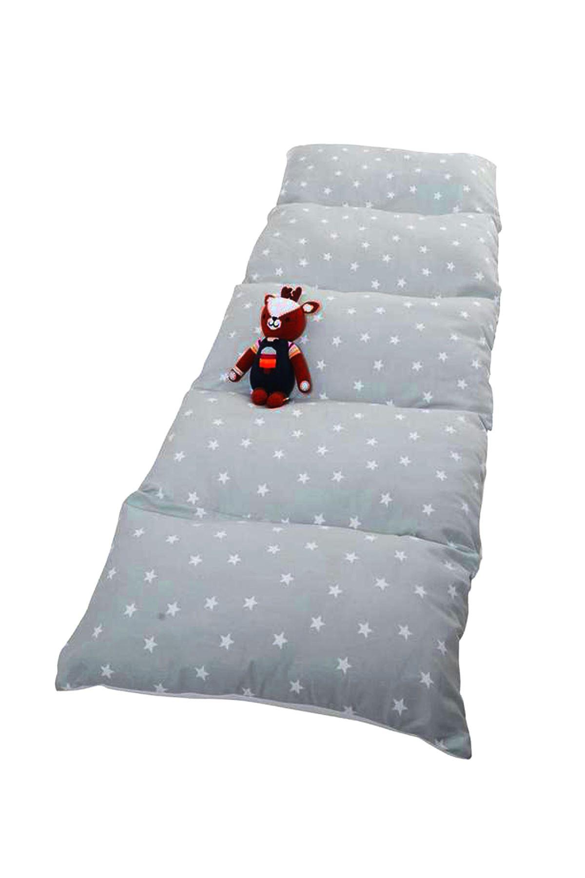 Gri Bundera Puf Katlanabilir Yer Minderi Yastık Çocuk Bebek Yer Yatağı
