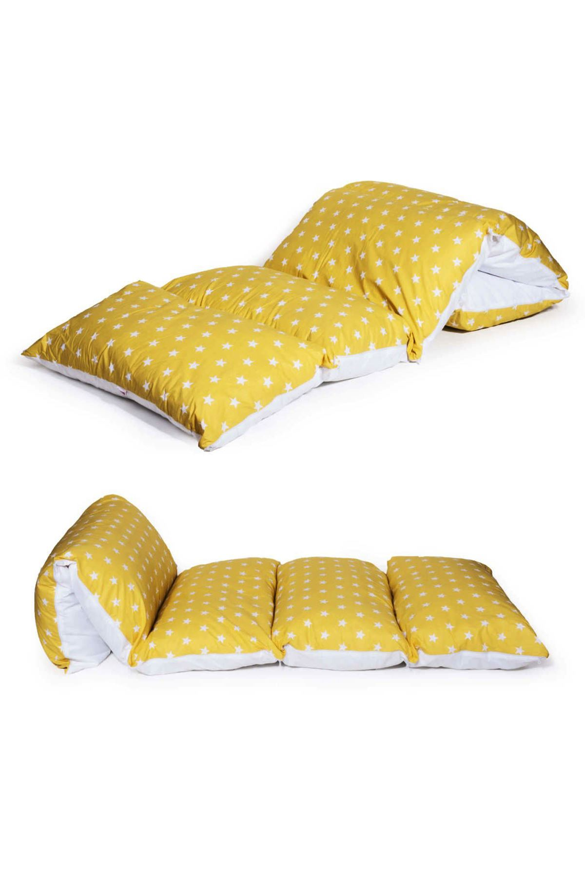 Sarı Bundera Puf Katlanabilir Yer Minderi Yastık Çocuk Bebek Yer Yatağı