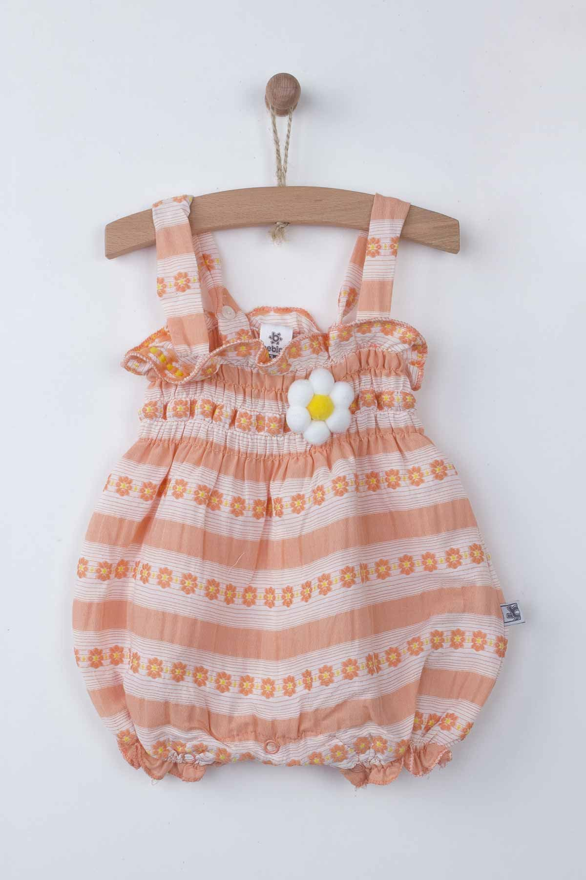 Orange Baby Girls Rompers with Hat Summer 2-piece Suit Clothes Set Jumpsuit Hat Cute Adorable Babies outfit Holiday beach Wear