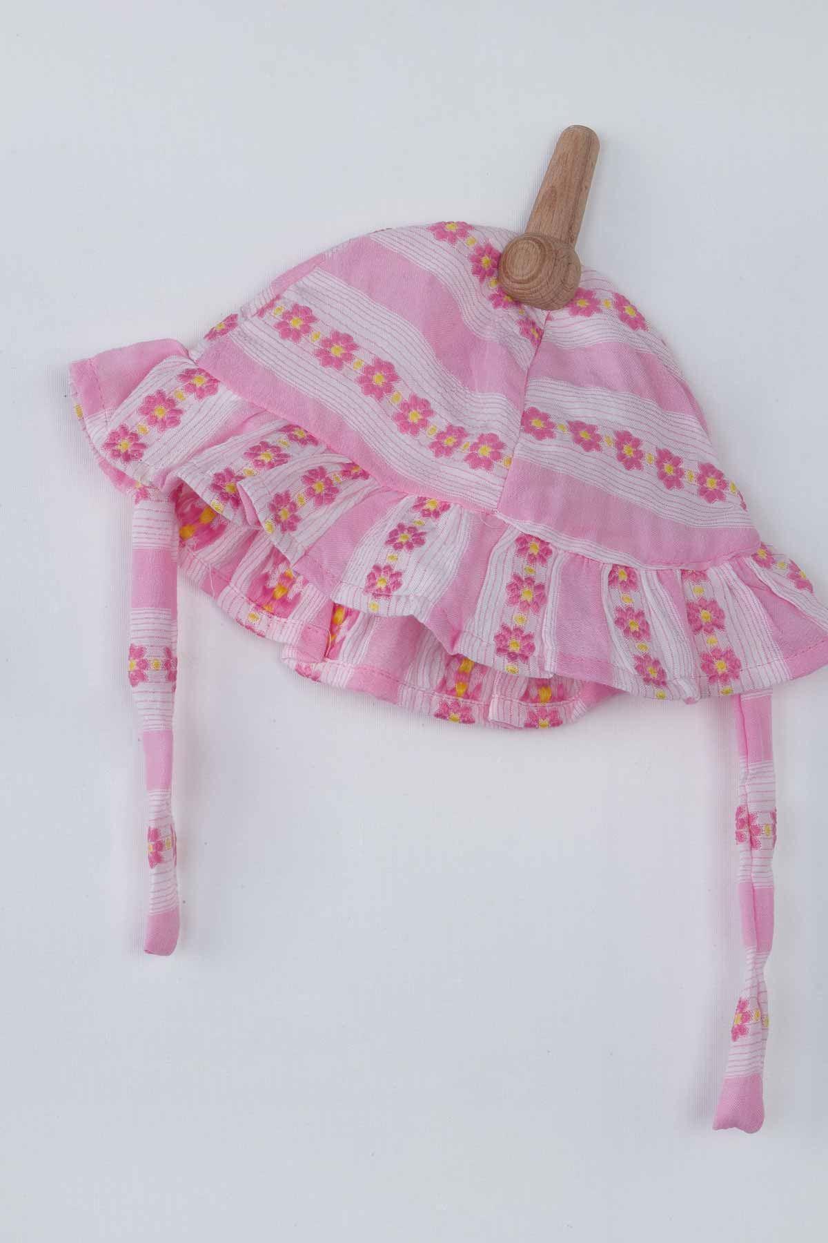 Pembe Papatyalı  Yazlık Kız Bebek Şapkalı Tulum