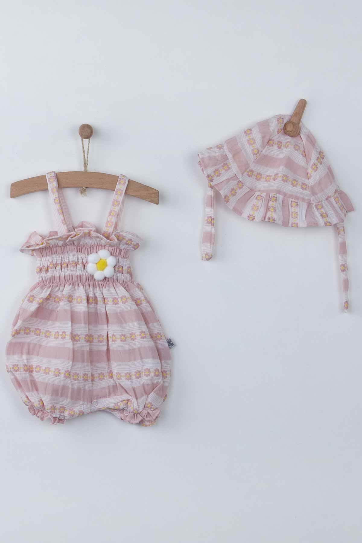 Baby Girls Rompers with Hat Summer 2-piece Suit Clothes Set Jumpsuit Hat Cute Adorable Babies outfit Holiday Beach wear Clothing