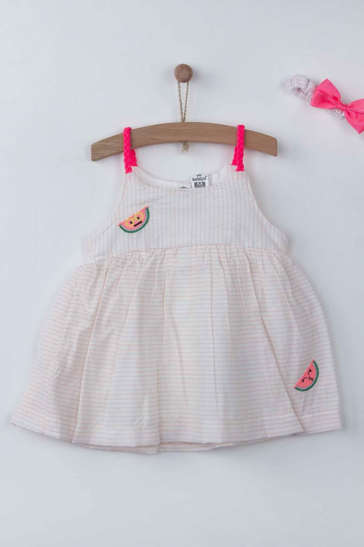 Powder Pink Baby Girl Dress Summer 2-piece Suit Clothes Set Dress Hairband Cute Cute Babies outfit Holiday Beach wear Clothing