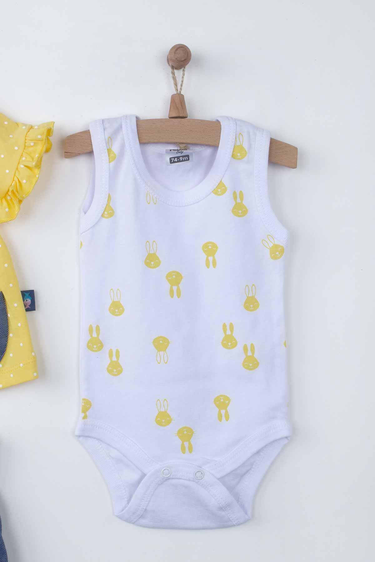 Sarı Yazlık Badili Kız Bebek 3 lü Takım