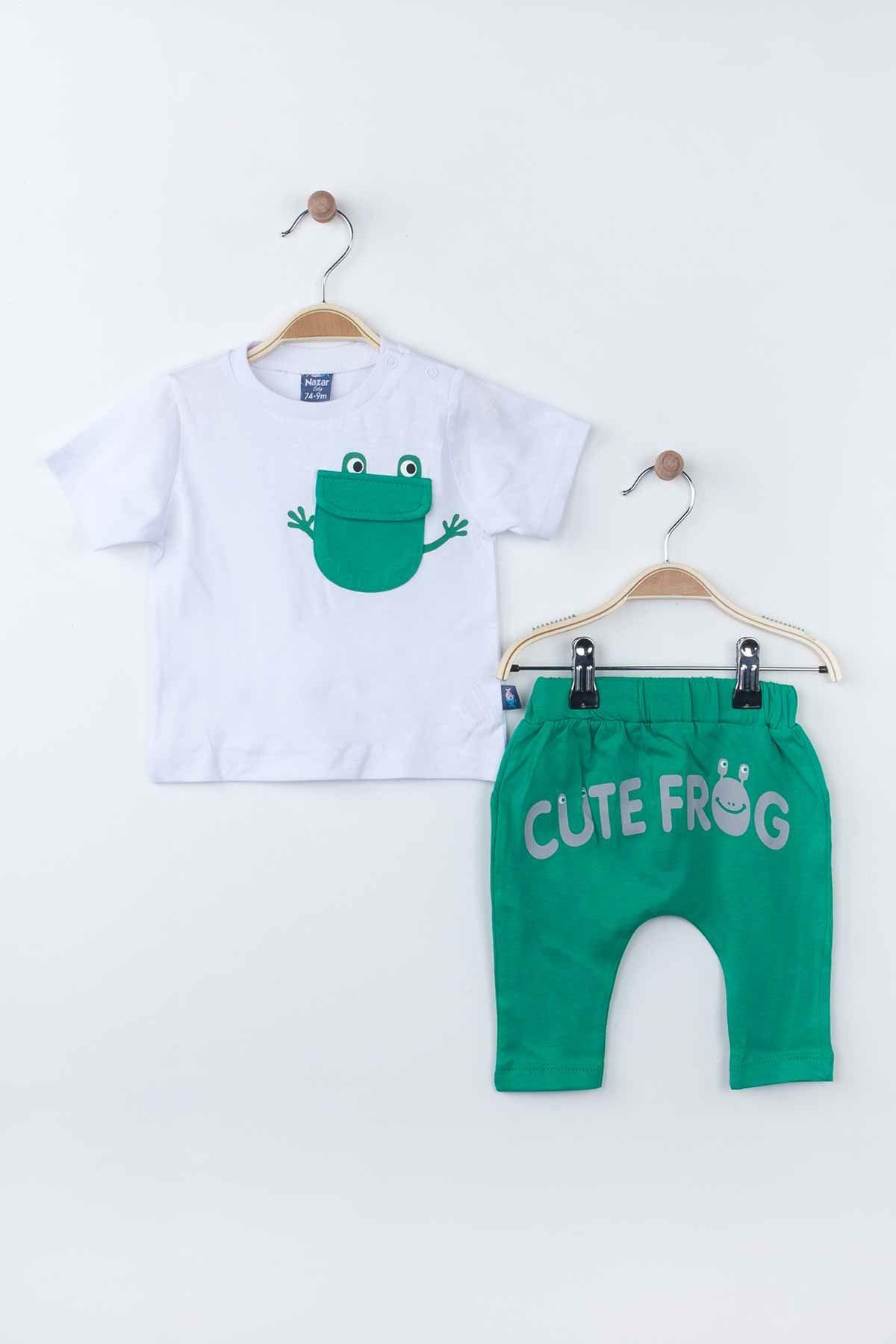 Beyaz Yazlık Erkek Bebek 2 li Takım