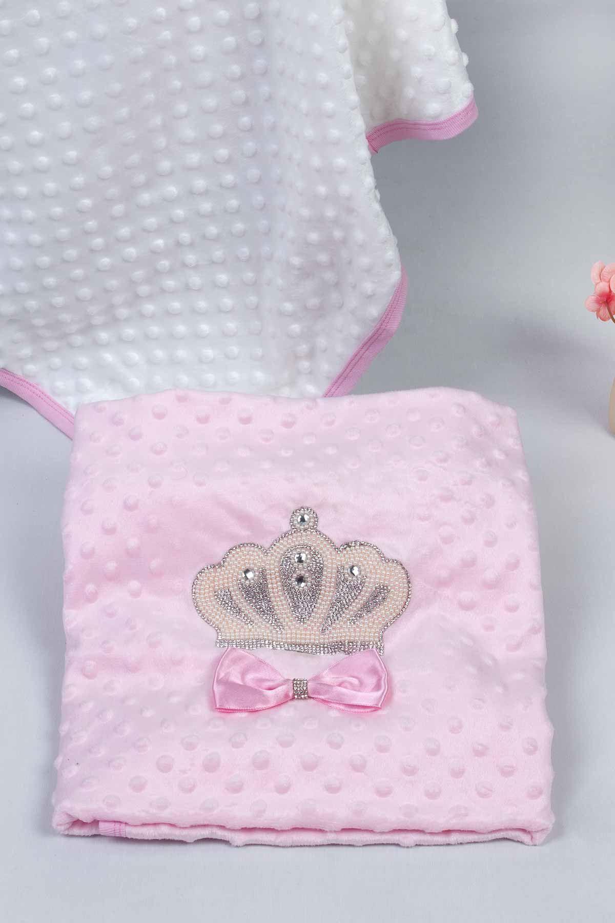 Pembe 85X90 cm Kraliçe Taçlı Nohut Kız Bebek Battaniye