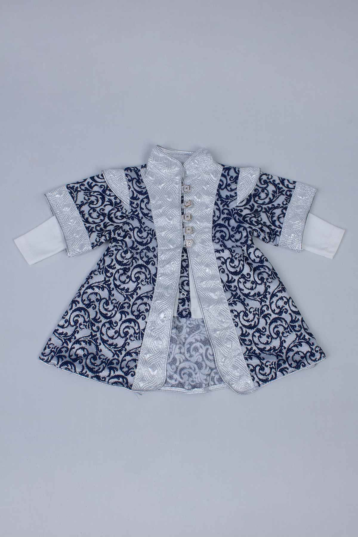 Navy Blue Boy Baby Suit Prince Ottoman Prince Gentleman Formal Dresses Boys Babies 5 Piece Set Male Clothing Special Occasions Outfit