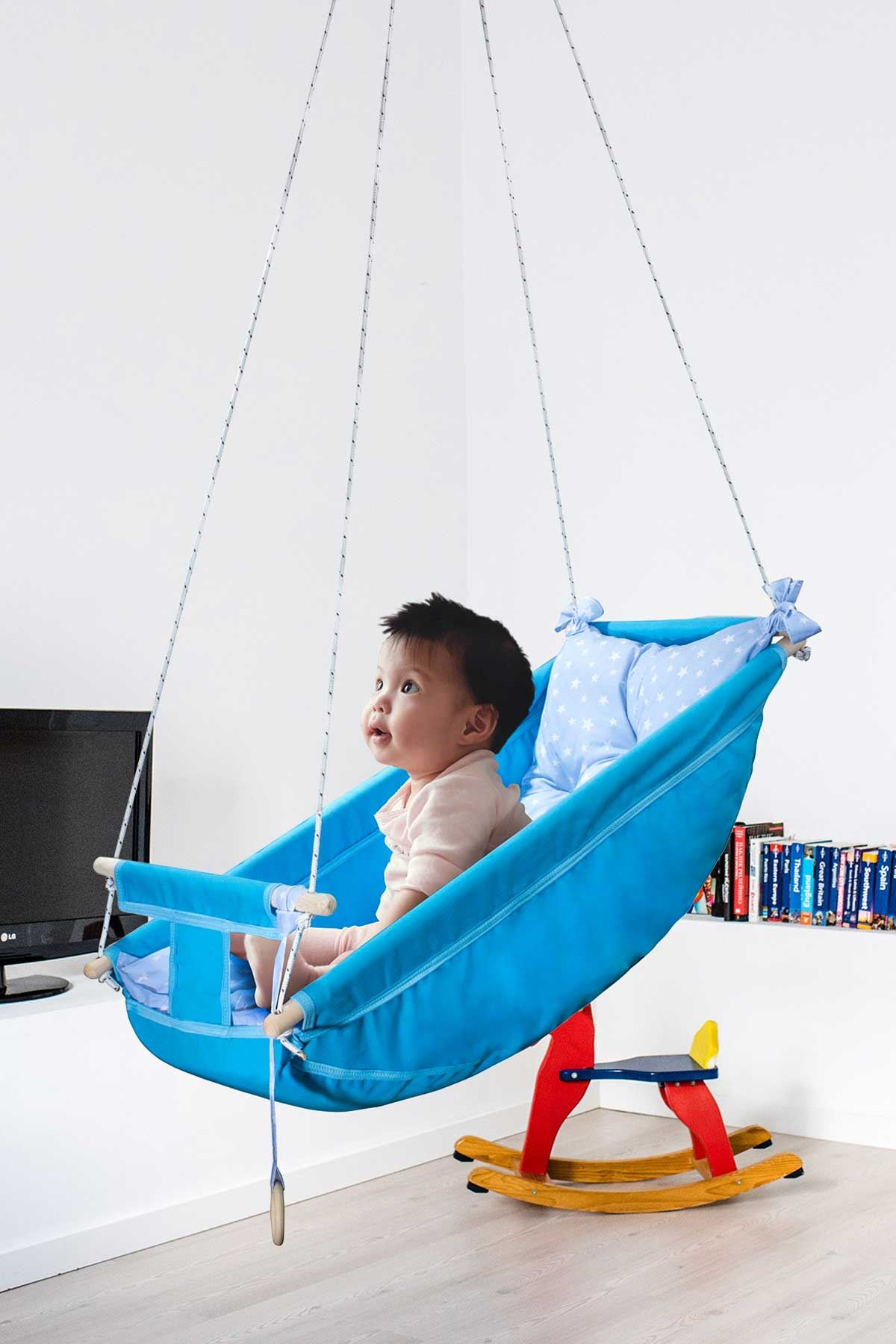 Blue Bundera Kids Baby Sleeping Swing Wooden Hammock Cradle Swing